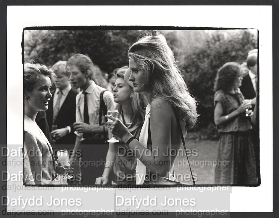 Lucy Ernst-Gornall and Minette l'Estrange, Drinks party for Henrietta Tatham. Ryecroft St. london SW6. 2 July 1986.Exhibition in a Box