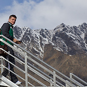 Brian O'Driscoll leads the Irish team off the plane as the Irish Rugby Team arrive at Queenstown airport with The Remarkables mountain range in the background. The team are based in Queenstown for the early part of the IRB Rugby World Cup 2011, Queenstown, New Zealand, 1st September 2011. Photo Tim Clayton....