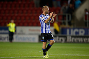 Barry Bannan of Sheffield Wednesday applauds fans after the EFL Cup match between Rotherham United and Sheffield Wednesday at the AESSEAL New York Stadium, Rotherham, England on 28 August 2019.