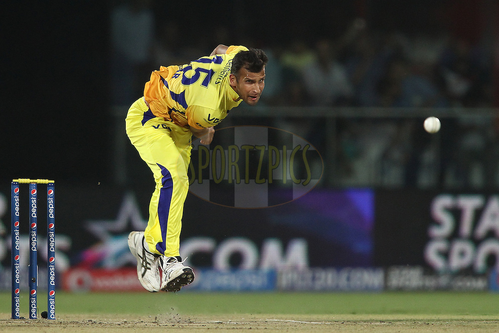 Ishwar Pandey of The Chennai Super Kings sends down a delivery during match 26 of the Pepsi Indian Premier League Season 2014 between the Delhi Daredevils and the Chennai Super Kings held at the Feroze Shah Kotla cricket stadium, Delhi, India on the 5th May  2014<br /> <br /> Photo by Shaun Roy / IPL / SPORTZPICS<br /> <br /> <br /> <br /> Image use subject to terms and conditions which can be found here:  http://sportzpics.photoshelter.com/gallery/Pepsi-IPL-Image-terms-and-conditions/G00004VW1IVJ.gB0/C0000TScjhBM6ikg