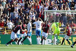 """Foto LaPresse/Filippo Rubin<br /> 27/04/2019 Bologna (Italia)<br /> Sport Calcio<br /> Bologna - Empoli - Campionato di calcio Serie A 2018/2019 - Stadio """"Renato Dall'Ara""""<br /> Nella foto: ESULTANZA GOAL BOLOGNA ROBERTO SORIANO (BOLOGNA F.C.)<br /> <br /> Photo LaPresse/Filippo Rubin<br /> April 27, 2019 Bologna (Italy)<br /> Sport Soccer<br /> Bologna vs Empoli - Italian Football Championship League A 2017/2018 - """"Renato Dall'Ara"""" Stadium <br /> In the pic: CELEBRATION GOAL BOLOGNA ROBERTO SORIANO (BOLOGNA F.C.)"""