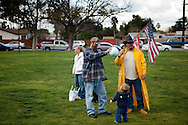 Bobby Roland and David Hradecky from Jamul stand in Renette park near the Tea Party rally.