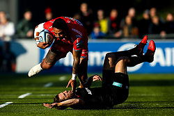 Denny Solomona of Sale Sharks barges through Chris Wyles of Saracens - Mandatory by-line: Robbie Stephenson/JMP - 17/11/2018 - RUGBY - Allianz Park - London, England - Saracens v Sale Sharks - Gallagher Premiership Rugby
