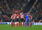 Southampton players during the Capital One Cup match between Southampton and Aston Villa at the St Mary's Stadium, Southampton, England on 28 October 2015. Photo by Adam Rivers.