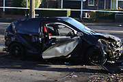 Manchester 24.11.2016 Scene in Manchester where a  car crashed  after a police pursuit  one man is in hospital with life threatening injuries another is  yet to be found as he ran off