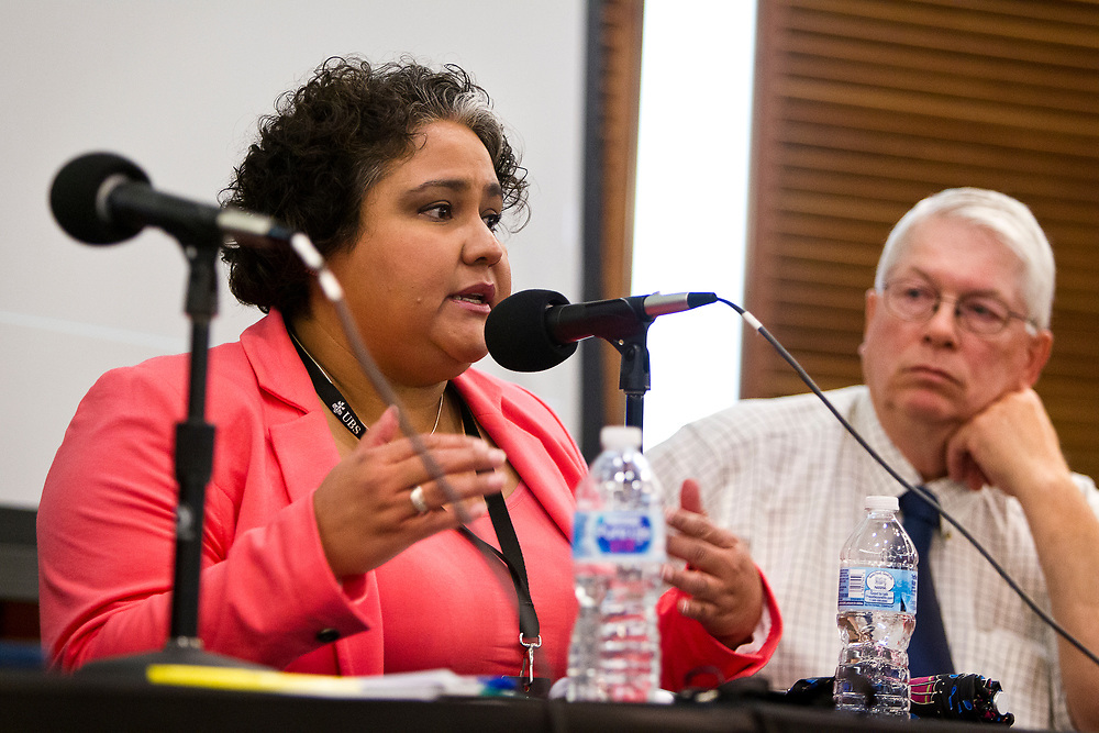 """Wisconsin Assembly Representative JoCasta Zamarippa speaks on the panel """"What's next for immigrant farm labor in Wisconsin?"""" at the Cap Times 2017 Idea Fest, Sunday, September 17, 2017"""