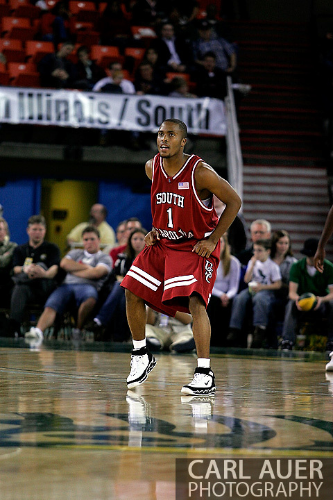 24 November 2005: Junior guard Tre Kelley (1) of South Carolina looks at the clock as he sets up for defense at the start of the second half of the Gamecock's 65 - 60 victory over the University of Alaska Anchorage Seawolves in the first round of the Great Alaska Shootout at the Sullivan Arena in Anchorage Alaska.