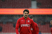 Middlesbrough defender George Friend (3)  warming up  during the EFL Sky Bet Championship match between Middlesbrough and Derby County at the Riverside Stadium, Middlesbrough, England on 27 October 2018.