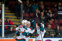 KELOWNA, CANADA - FEBRUARY 8:  Kaedan Korczak #6 congratulates Cayde Augustine #5 of the Kelowna Rockets on his first WHL goal against the Prince George Cougarson February 8, 2019 at Prospera Place in Kelowna, British Columbia, Canada.  (Photo by Marissa Baecker/Shoot the Breeze)