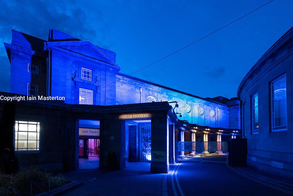 Night view of exterior of Leith theatre during Edinburgh International Festival 2019, Scotland, UK