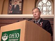 16346AEP Gift Press Conference at Voinovich Center w/Jane Harf and Sen. Voinovich ..Senator Voinovich speaks at the Voinoich Center at Ohio University on 3/18/04 at the AEP press conference...Photo:Rick Fatica