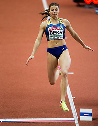 Maryna Bekh of Ukraine competes in the Long Jump Women Qualification on day two of the 2017 European Athletics Indoor Championships at the Kombank Arena on March 4, 2017 in Belgrade, Serbia. Photo by Vid Ponikvar / Sportida