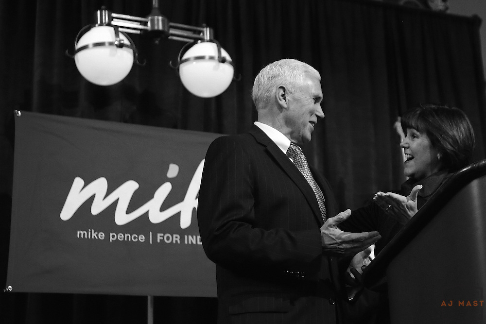 Gov. Elect Mike Pence is itroduced by his wife Karen before talking with volunteers at a breakfast before his inauguration in Indianapolis, Monday January 14,2013. (Photo by AJ Mast)