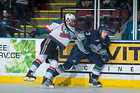 KELOWNA, CANADA - APRIL 30:Dillon Dube #19 of the Kelowna Rockets checks Mathew Barzal #13 of the Seattle Thunderbirds  on April 30, 2017 at Prospera Place in Kelowna, British Columbia, Canada.  (Photo by Marissa Baecker/Shoot the Breeze)  *** Local Caption ***