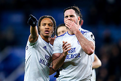 Bobby Reid of Cardiff City and Greg Cunningham of Cardiff City celebrate victory over Leicester City - Mandatory by-line: Robbie Stephenson/JMP - 29/12/2018 - FOOTBALL - King Power Stadium - Leicester, England - Leicester City v Cardiff City - Premier League