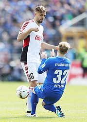 16.04.2016, Merck Stadion am Boellenfalltor, Darmstadt, GER, 1. FBL, SV Darmstadt 98 vs FC Ingolstadt 04, 30. Runde, im Bild vl. Lukas Hinterseer (FC Ingolstadt 04) Fabian Holland (SV Darmstadt 98) // during the German Bundesliga 30th round match between SV Darmstadt 98 and FC Ingolstadt 04 at the Merck Stadion am Boellenfalltor in Darmstadt, Germany on 2016/04/16. EXPA Pictures © 2016, PhotoCredit: EXPA/ Eibner-Pressefoto/ Voelker<br /> <br /> *****ATTENTION - OUT of GER*****