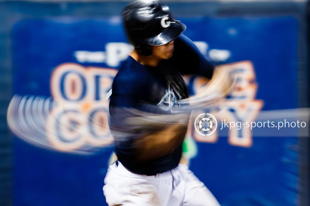 161104 Baseball, NCAA, Cal State Fullerton - Cypress College<br /> First Base/Pitcher, Garrett Calvert, Cypress Chargers, swings the batt.<br /> &copy; Daniel Malmberg/Sports Shooter Academy 13