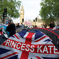Droves of royalists chose to camp outside Westminster Abbey the day before the royal wedding of Prince William and Kate Middleon.