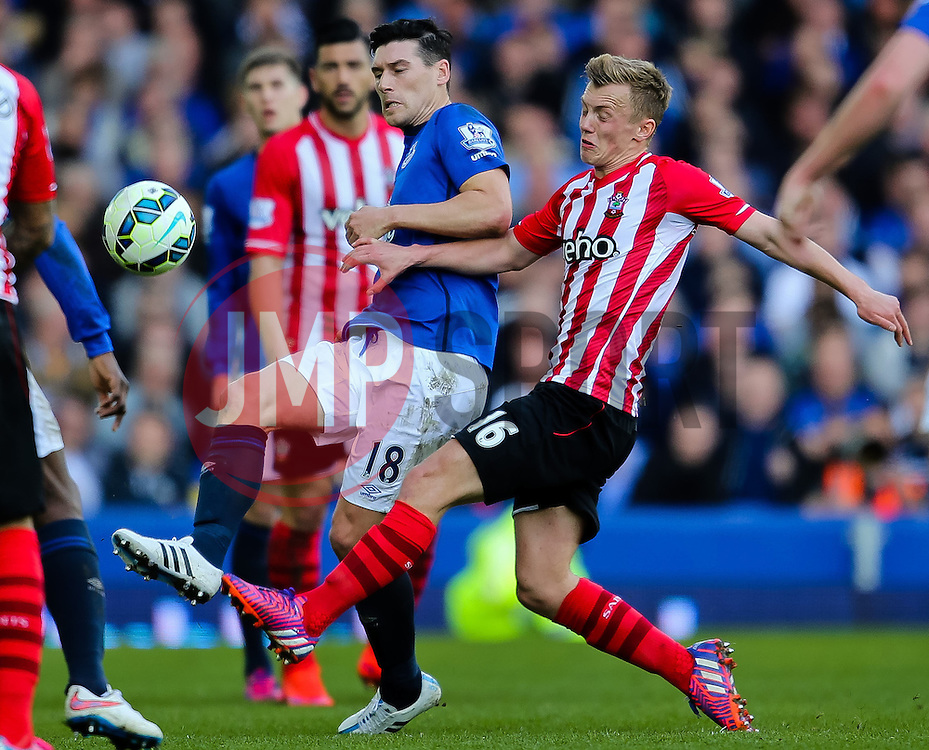 Everton's Gareth Barry is closed down by Southampton's James Ward-Prowse  - Photo mandatory by-line: Matt McNulty/JMP - Mobile: 07966 386802 - 04/04/2015 - SPORT - Football - Liverpool - Goodison Park - Everton v Southampton - Barclays Premier League