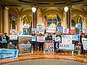 23 JANUARY 2020 - DES MOINES, IOWA: About 75 people, including farmers, environmental activists, and supporters of family farms, came to a protest in the rotunda of the state capitol in Des Moines. They are trying to pressure Iowa lawmakers to pass a moratorium against new factory farm construction in Iowa.       PHOTO BY JACK KURTZ