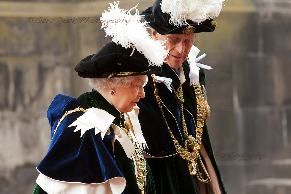 The Queen and the Duke of Edinburgh arrive at St. Giles Cathedral, Edinburgh.<br /> Edinburgh, Scotland, UK. 3rd July 2014