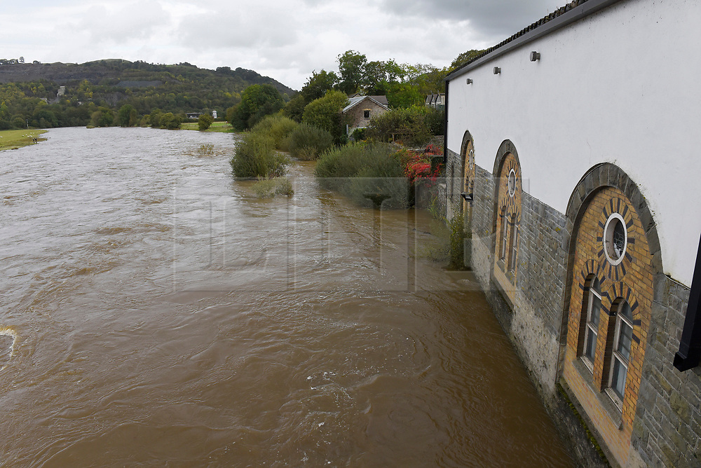 © Licensed to London News Pictures. 11/10/2019. Builth Wells, Powys, Wales, UK. After heavy rainfall river levels rise and the Wye river bursts it's banks at Builth Wells in Powys, UK. Photo credit: Graham M. Lawrence/LNP