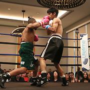 DAYTONA BEACH, FL - FEBRUARY 08:  Anthony Ortiz (L) knocks out Akihiro Nakamura in the first round during their boxing match at Hard Rock Hotel Daytona on February 8, 2020 in Daytona Beach, Florida. (Photo by Alex Menendez/Getty Images) *** Local Caption *** Anthony Ortiz; Akihiro Nakamura