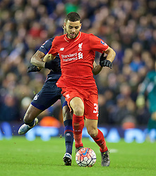 LIVERPOOL, ENGLAND - Saturday, January 30, 2016: Liverpool's Kevin Stewart in action against West Ham United during the FA Cup 4th Round match at Anfield. (Pic by David Rawcliffe/Propaganda)