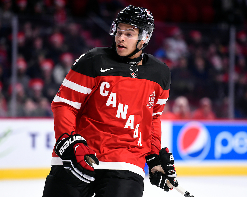 Madison Bowey of the Kelowna Rockets represented Team Canada at the opening game of the 2015 World Junior Championships in Montreal, Quebec on Friday Dec. 26, 2014. Canada defeated Slovakia 8-0. Photo by Aaron Bell/CHL Images.