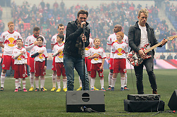 Mar 16, 2013; Harrison, NJ, USA; Stars of the Broadway musical Rock of Ages perform the National Anthem before the D.C. United vs New York Red Bulls game at Red Bull Arena. The match ended in a 0-0 tie.