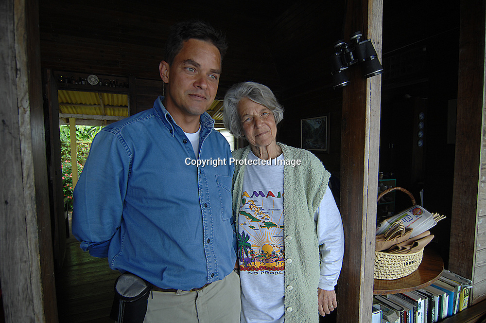 Dorothy Twyman and son at Old Tavern Blue Mountain Coffee Plantation near Kingston, Jamaica.