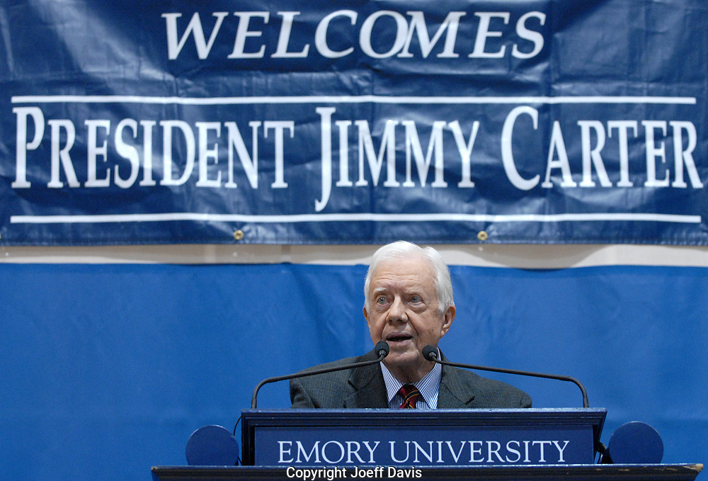"""ATLANTA, GA - SEPT 16, 2009: Former president Jimmy Carter visited Emory for his 28th annual Carter Town Hall meeting for Emory University's 1,300 freshmen. The freshman are required to attend the yearly ritual, in which Carter responds to seemingly random questions written by the students. This year's meeting took place against a backdrop of Carter's comment the previous day, quoted by Fox News, that Congressman Joe Wilson's outburst during President Obama's recent speech to Congress was """"based on racism."""""""