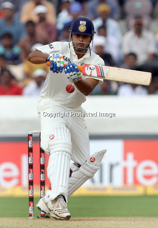 Indian batsman Suresh Raina Plays a Shot against New Zealand during the 3rd day of the 2nd test match India vs New Zealand Played at Rajiv Gandhi International Stadium, Uppal, Hyderabad 14, November 2010 (5-day match)