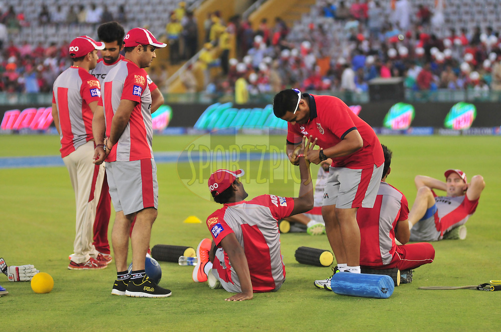 during match 27 of the Pepsi IPL 2015 (Indian Premier League) between The Kings XI Punjab and The Sunrisers Hyderabad held at the Punjab Cricket Association Stadium in Mohali, India on the 27th April 2015.<br /> <br /> Photo by:  Arjun Panwar / SPORTZPICS / IPL