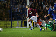 West Ham United attacker Javier Hernandez (17) about to score a goal to make it 1-3 during the EFL Carabao Cup 2nd round match between AFC Wimbledon and West Ham United at the Cherry Red Records Stadium, Kingston, England on 28 August 2018.