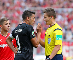 09.08.2015, Stadion Essen, Essen, GER, DFB Pokal, Rot Weiss Essen vs Fortuna Duesseldorf, 1. Runde, im Bild Karim Haggui (Duesseldorf) und Schiedsrichter Daniel Siebert diskutieren gestenreich // during German DFB Pokal first round match between Rot Weiss Essen and Fortuna Duesseldorf at the Stadion Essen in Essen, Germany on 2015/08/09. EXPA Pictures © 2015, PhotoCredit: EXPA/ Eibner-Pressefoto/ Hommes<br /> <br /> *****ATTENTION - OUT of GER*****