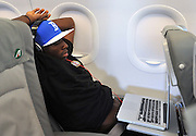 Glasgow, 28 Settembre 2011.UEFA Europa League 2011/2012  2^ giornata gruppo I..Udinese vs Celtic Glasgow..Nella Foto: I giocatori dell'Udinese sul volo per Glasgow. Pablo Estifer Armero..© foto di Simone Ferraro