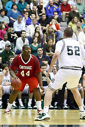 29 January 2011: Tyler Pierce during an NCAA basketball game between the Carthage Reds and the Illinois Wesleyan Titans at Shirk Center in Bloomington Illinois.