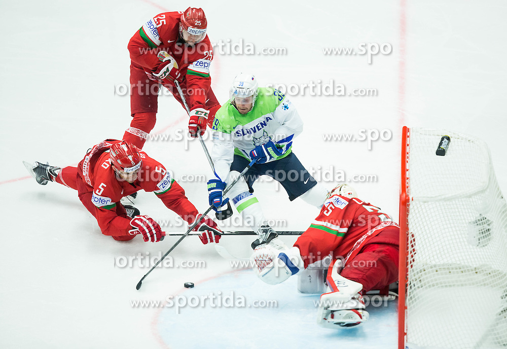 Jan Mursak of Slovenia vs Nikolai Stasenko of Belarus, Oleg Yevenko of Belarus and Kevin Lalande of Belarus during Ice Hockey match between Belarus and Slovenia at Day 2 in Group B of 2015 IIHF World Championship, on May 2, 2015 in CEZ Arena, Ostrava, Czech Republic. Photo by Vid Ponikvar / Sportida