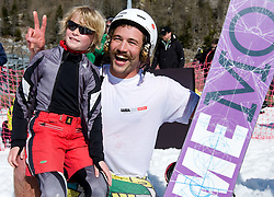 Filip Flisar, winner of crystal globe 2012 in ski cross with fan after Luza Petrol 007 on ski resort RTC Krvavec, 31.3.2012, Cerklje na Gorenjskem, ski resort RTC Krvavec, Slovenia