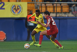 December 13, 2018 - Vila-Real, Castellon, Spain - Samu Chukwueze of Villarreal CF and Lorenzo Melgarejo of Spartak Moscow during the UEFA Europa League Group G match between Villarreal CF and Spartak Moscow at Estadio de la Ceramica on December 13, 2018 in Vila-real, Spain. (Credit Image: © AFP7 via ZUMA Wire)