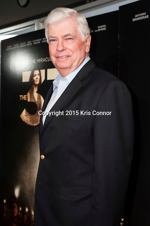 WASHINGTON, DC- OCTOBER 27: President of the MPAA Chris Dodd attends the DC premiere of Warner Bros Pictures THE 33 at the Newsuem on October 27, 2015 in Washington, DC. (Photo by Kris Connor/Warner Bros. Pictures)