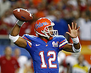 Florida QB Chris Leak during the SEC Championship game between the Arkansas Razorbacks and the Florida Gators at the Georgia Dome in Atlanta, GA on December 2, 2006.<br />