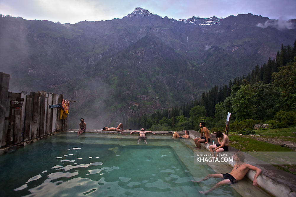 Natural Hot water pool at Kheerganga, Parvati Valley.