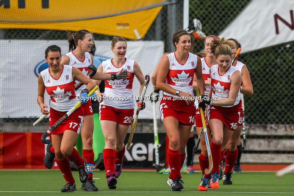 Canada celebrates Karli Johansen's goal. International Womens Hockey. New Zealand Black Sticks v Canada. Whangarei. New Zealand. Thursday 5 February 2015. Copyright Photo: Heath Johnson / www.photosport.co.nz