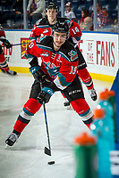 KELOWNA, CANADA - NOVEMBER 29: Dillon Dube #19 of the Kelowna Rockets warms up against the Prince George Cougars on November 29, 2017 at Prospera Place in Kelowna, British Columbia, Canada.  (Photo by Marissa Baecker/Shoot the Breeze)  *** Local Caption ***