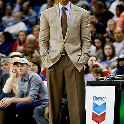 Nov 2, 2013; New Orleans, LA, USA; New Orleans Pelicans head coach Monty Williams against the Charlotte Bobcats during the second half of a game at New Orleans Arena. The Pelicans defeated the Bobcats 105-84. Mandatory Credit: Derick E. Hingle-USA TODAY Sports