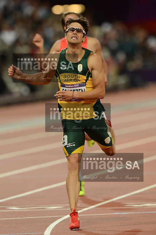 LONDON, ENGLAND - AUGUST 8, Willem Coertzen of South Africa in the mens decathlon 400m during the evening session of athletics at the Olympic Stadium  on August 8, 2012 in London, England.Photo by Roger Sedres / Gallo Images