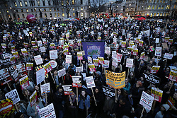 © Licensed to London News Pictures. 20/02/2017. London, UK . Protestors gather in Parliament Square as MPs debate petitions for and against a State Visit by US President Donald Trump . Photo credit: Peter Macdiarmid/LNP
