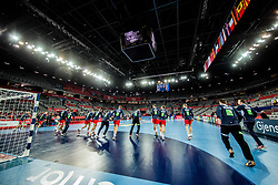 Players of Norway at warming up prior to  the handball match between National teams of Sweden and Norway on Day 7 in Main Round of Men's EHF EURO 2018, on January 24, 2018 in Arena Zagreb, Zagreb, Croatia.  Photo by Vid Ponikvar / Sportida